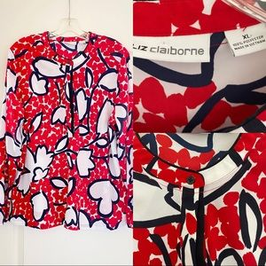 Liz Claiborne Red, White and Blue Floral Blouse
